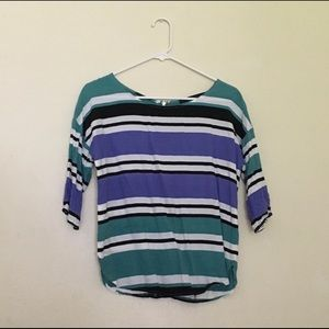 Zara Teal Purple Striped Blouse